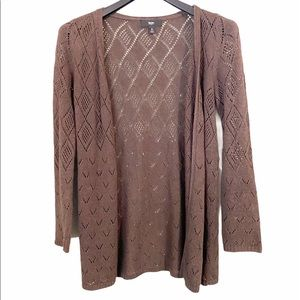 Mossimo Brown Eyelet Cardigan Size Small